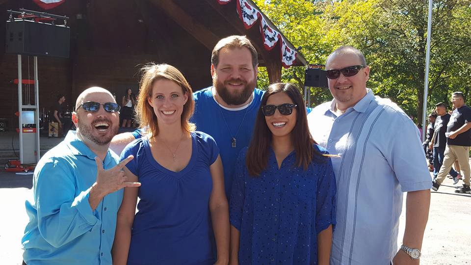 Ryan McChesney, Angela Beckefeld, Dave Ebert, Anna Yee and Jim Bushy perform at the Dellwood Block Party in Lockport, IL.