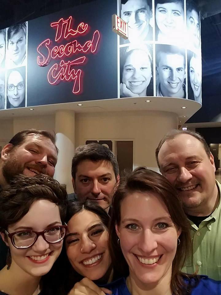 Ha Ha Men performing at Second City in Chicago. Back Row: Dave Ebert, Dave Zarbock & Jim Bushy. Front Row: Brooke Simkins, Anna Yee, &Angela Beckefeld.