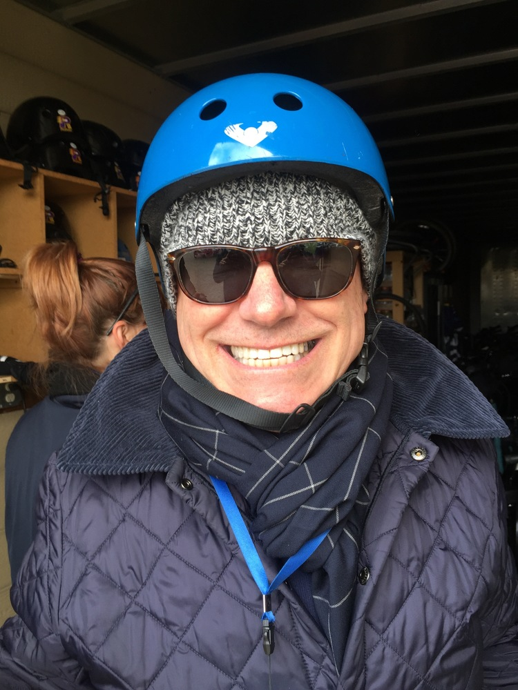 Gary with helmut on and ready to Segway