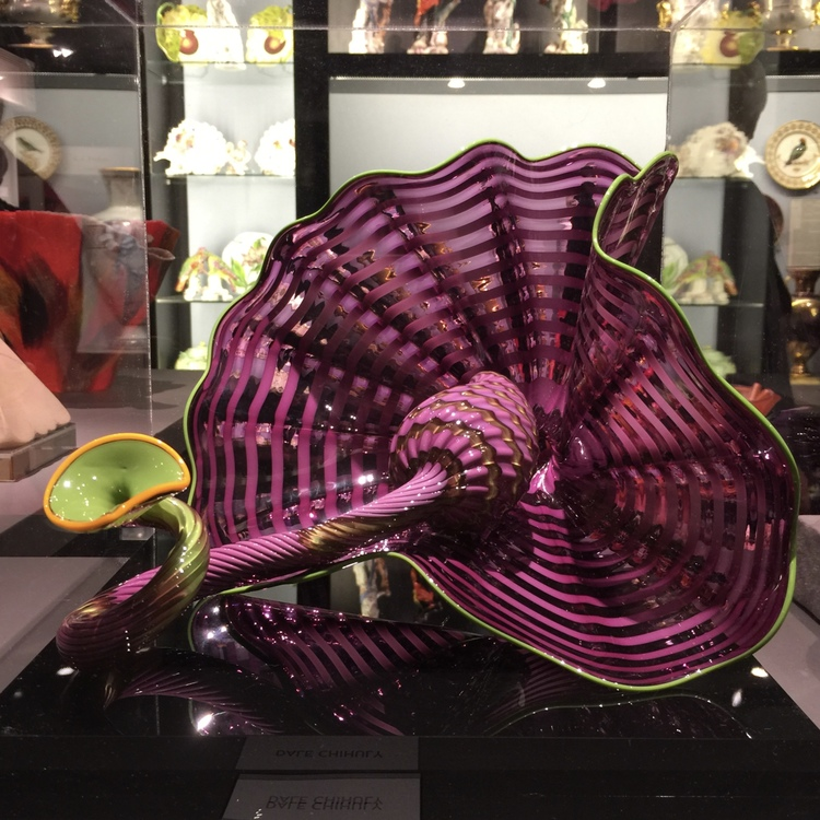 A colorful blown glass piece by Dale Chihuly evokes a tropical moment on a January afternoon.