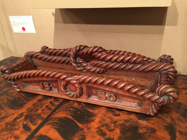 This antique oak cutlery box with it's bold rope carving was a favorite of mine. The nautical nature of the piece calls for a new home in Nantucket!