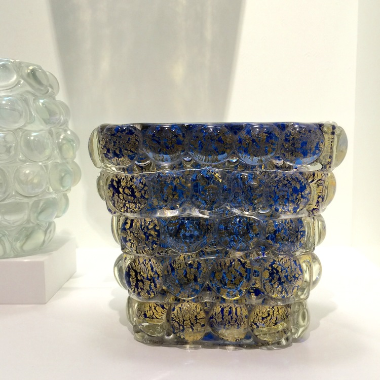 Glass Past offered a wonderful selection of mid-century Italian glass.  This stunning blue and gold vase was designed by Ercole Barovier, circa 1940.