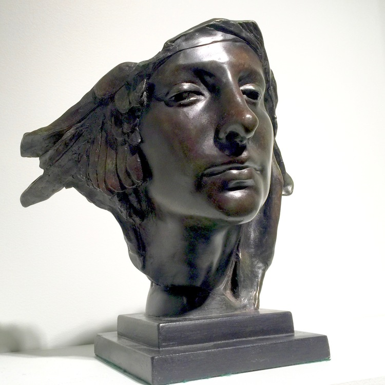 "I found this captivating bronze sculpture at Bowman Sculpture.  The piece is entitled ""Mask of Perseus"" and was crafted by Sir William Reid Dick."