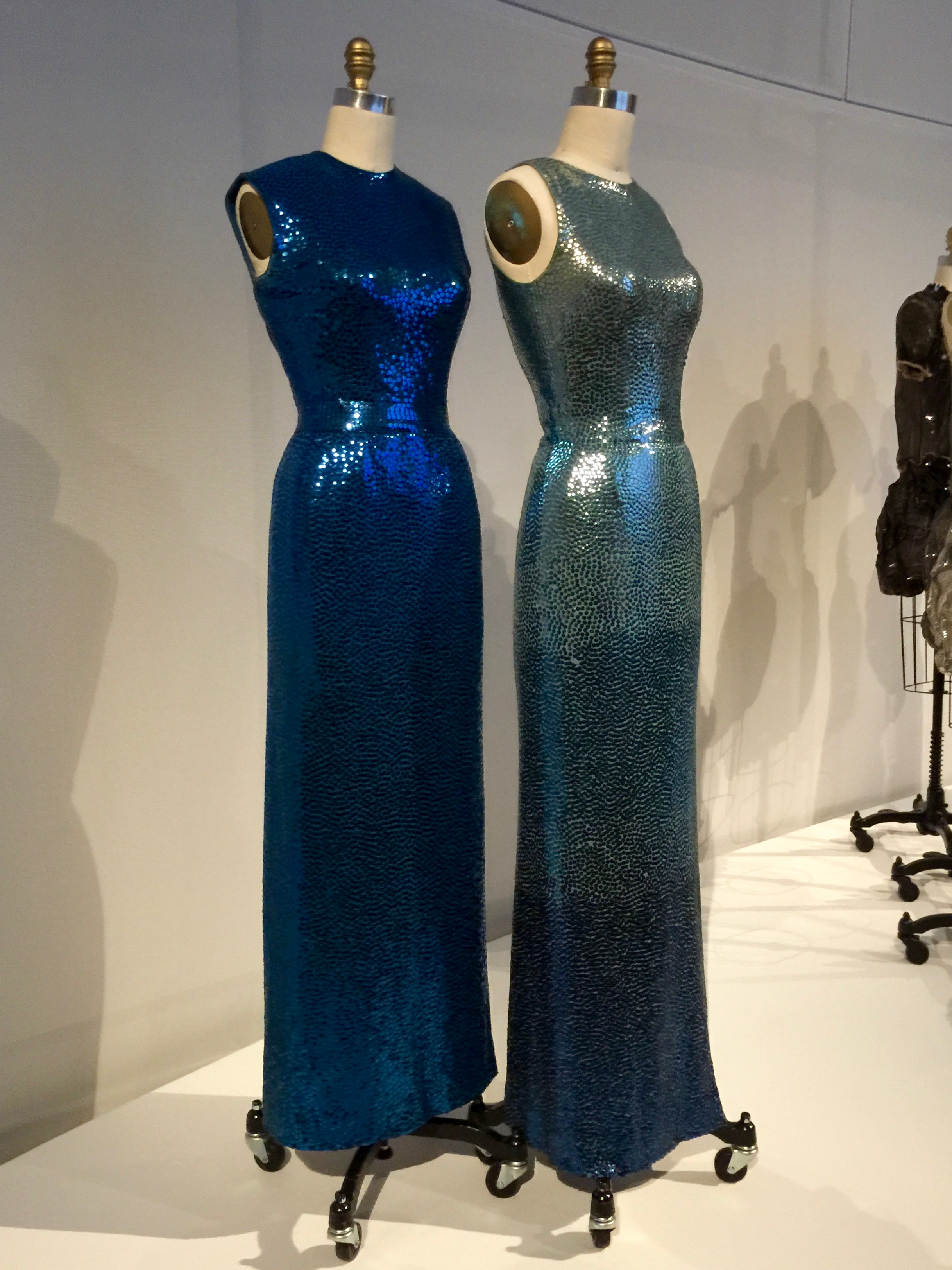 Norman Norell EVENING DRESS, Ca. 1953,pret-a-porter  Machine-sewn silk jersey, hand-embroidered with ombré gelatin sequins; machine-finished, hand-hemmed