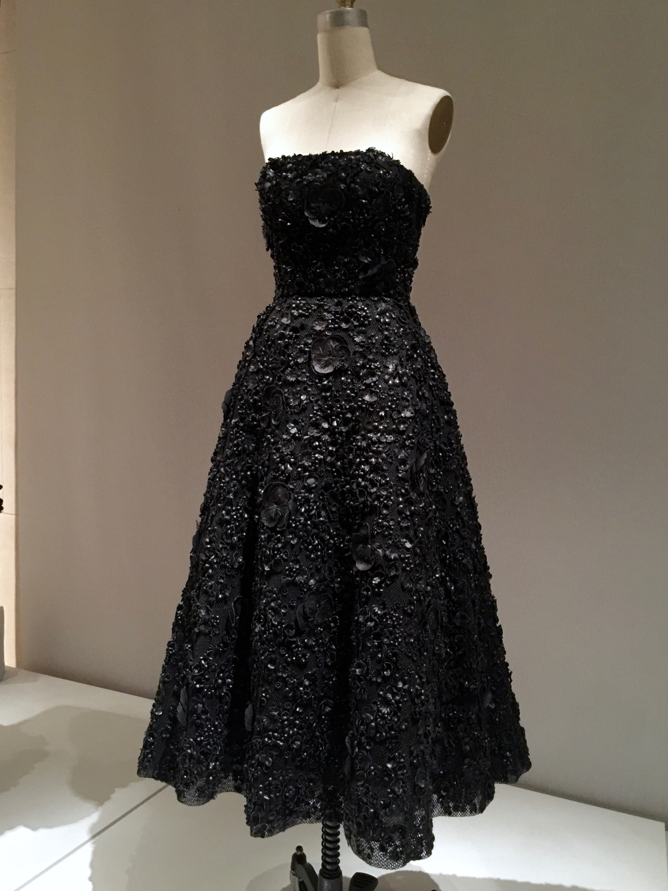 HOUSE OF DIOR, Raf Simons DRESS, Autumn/Winter 2013-14,pret-a-porter  Machine-sewn black silk taffeta with overlay of black cotton-synthetic mesh, hand-embroidered with leather artificial flowers and black beads