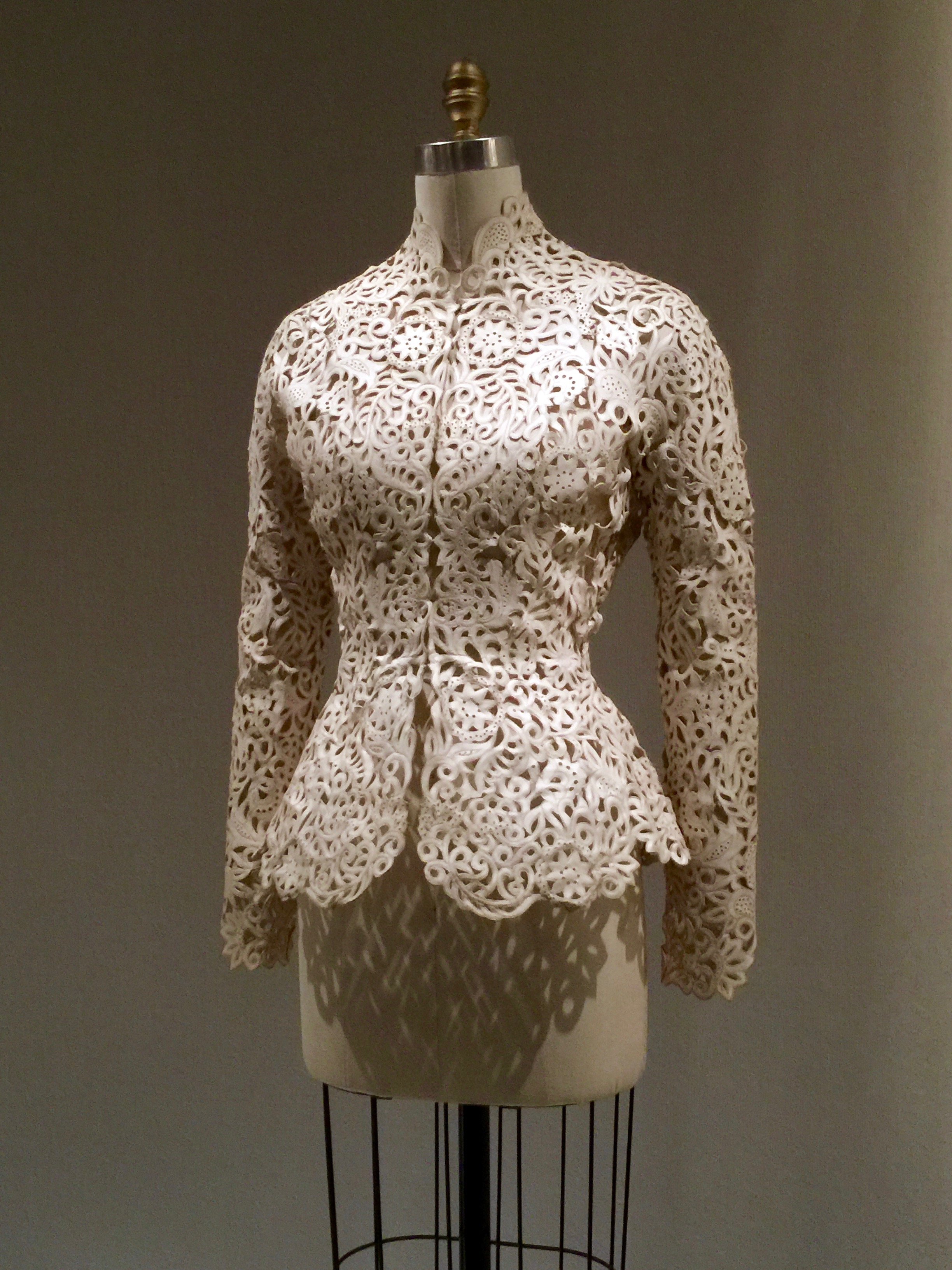HOUSE OF DIOR, John Galliano JACKET, Autumn/Winter 1997-98, haute couture  Hand-cut and hand-pieced white leather, machine top-stitched, with hand-sewn wire frame