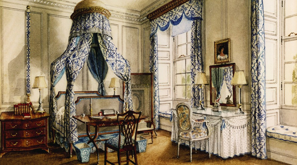 Bedroom Six, from a painting by Alexandre Serebriakoff. Ronald Tree's second wife Marietta commissioned a series of paintings of Ditchley as a memento of his occupancy in the 1930s and 1940s.