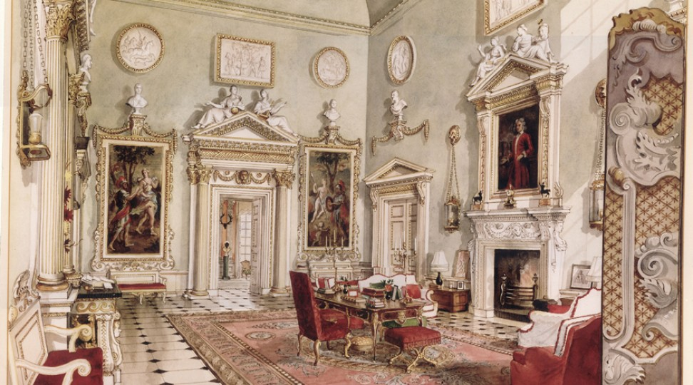 The Great Hall, from a painting by Alexandre Serebriakoff. Ronald Tree's second wife Marietta commissioned a series of paintings of Ditchley as a memento of his occupancy in the 1930s and 1940s.  http://www.ditchley.co.uk/gallery/the-interiors