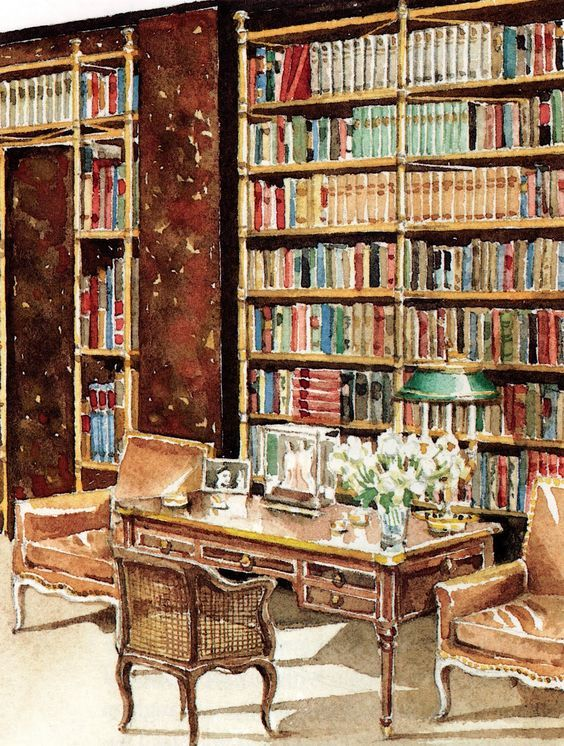 Cole Porter's Waldorf Towers apartment, with its floor to ceiling Directoire-inspired tubular brass bookcases placed against lacquered tortoiseshell-vinyl walls.