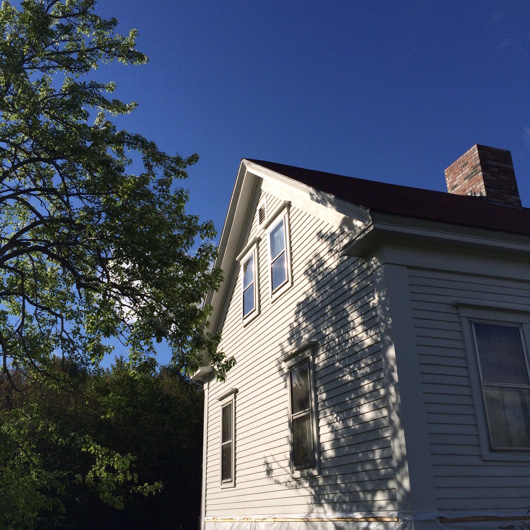 Pear tree and farmhouse.