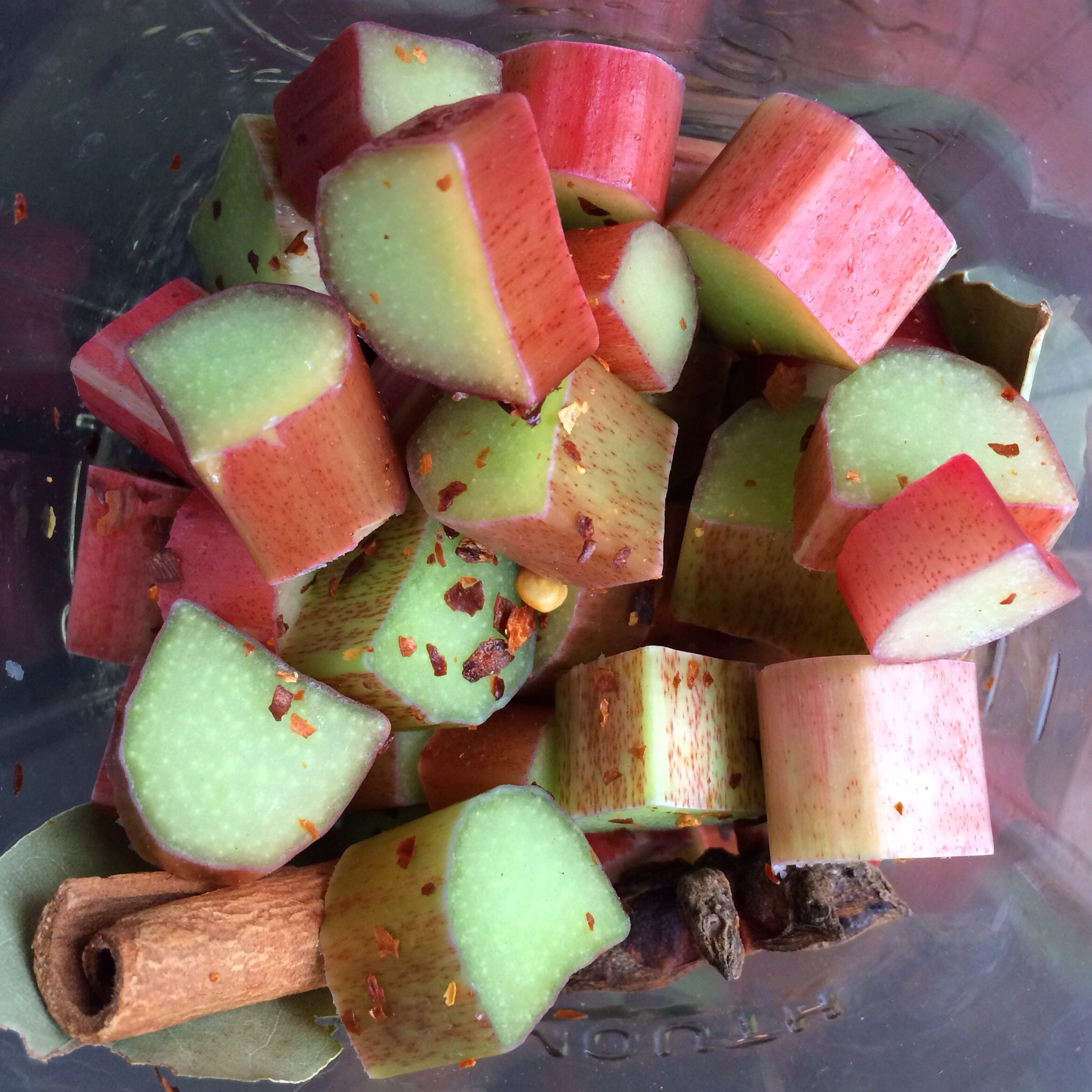 Trying a new recipe - rhubarb refrigerator pickles.