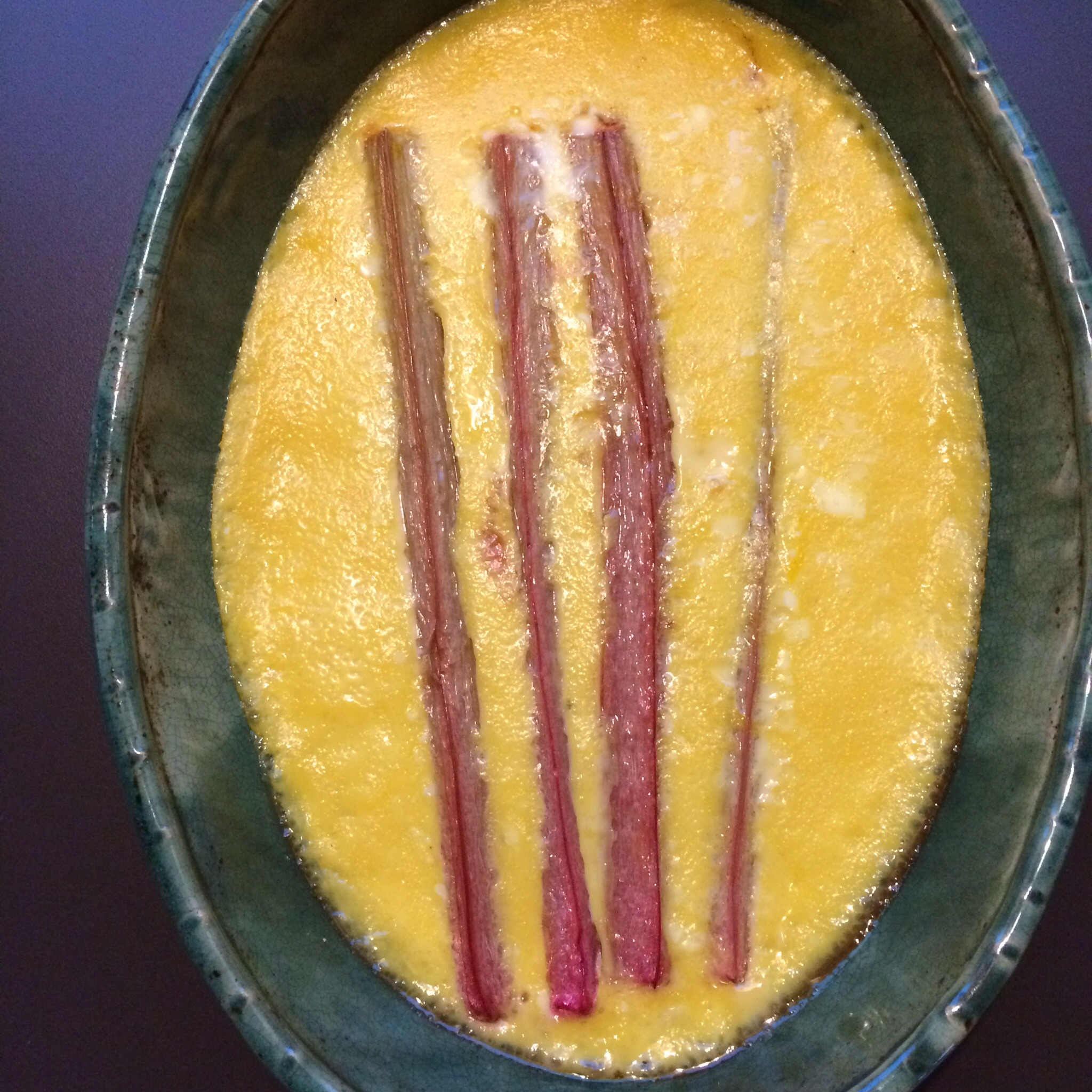 Rhubarb custard for dessert.