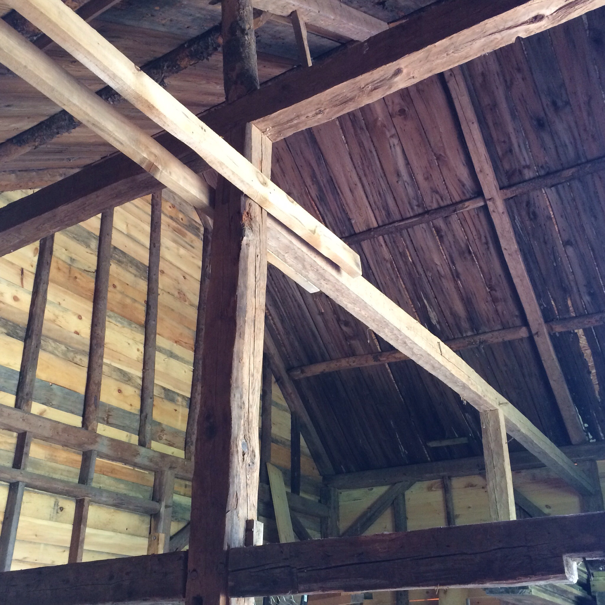 The inside of my parents' barn, circa 1700-something. They had the structure restored recently and my dad is in the process of finishing renovations and adding a room for chickens.