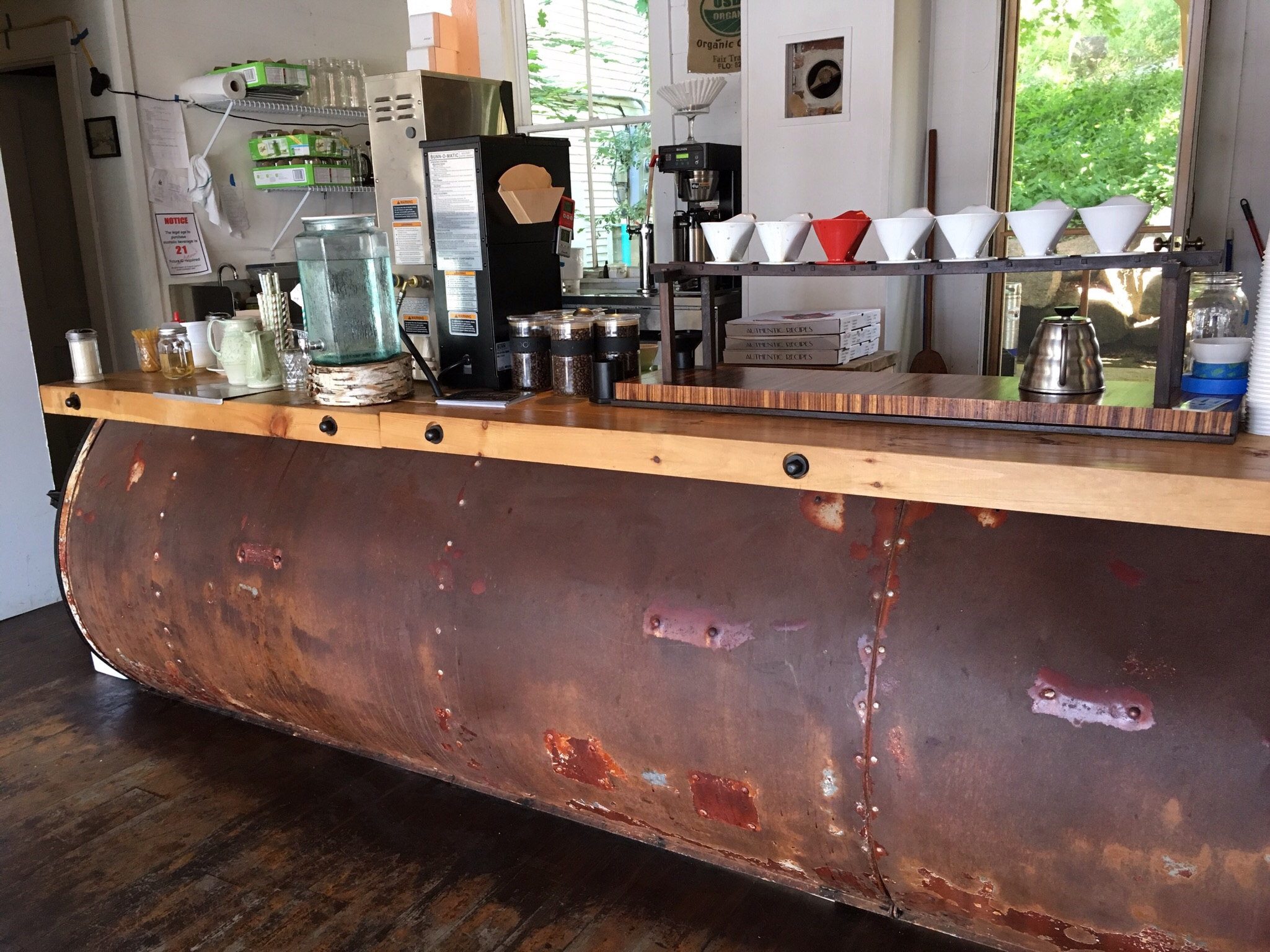 The bar base is made from the top of an old horse trailer.