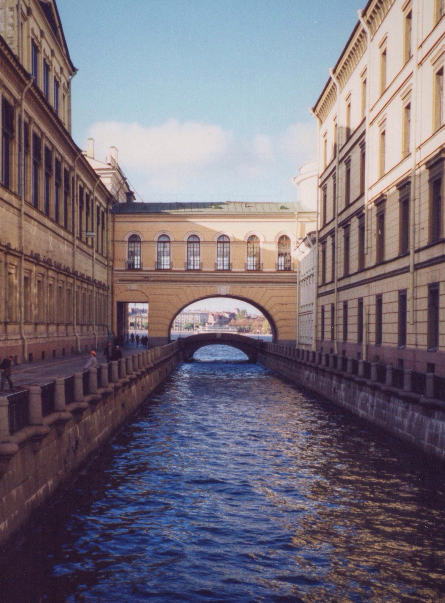 One of St. Petersburg's many canals, this one flowing between buildings that make up the Hermitage Museum, the former Winter Palace of the czars.