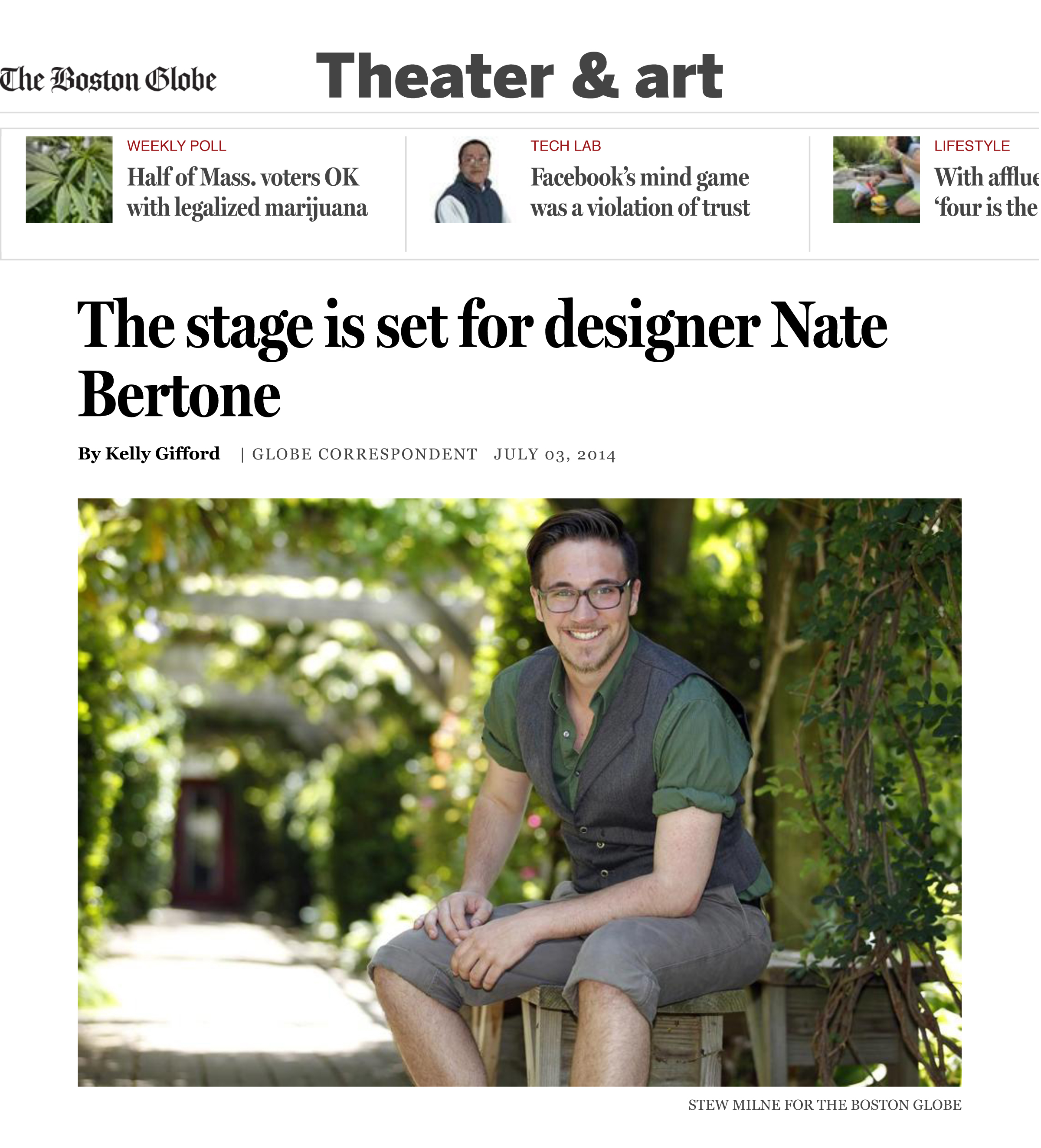 Read about Nate in  The Boston Globe.