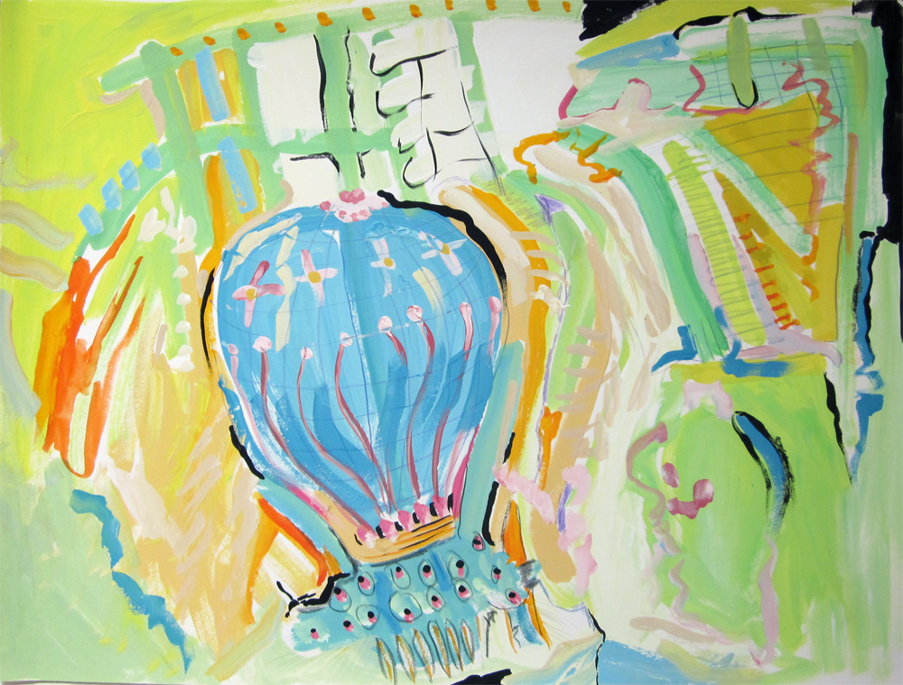 "Airborne  12"" x 16"" gouache on paper 2010"