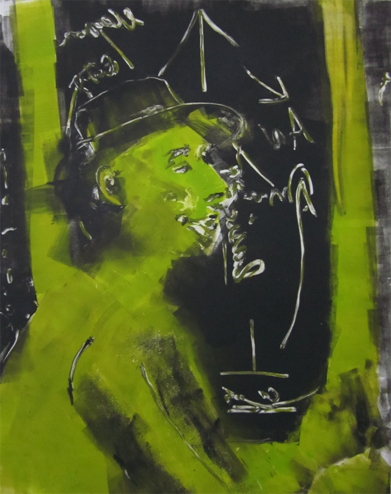 "Joseph Beuys	(green and black)	30"" x 22""	monotype 2010"