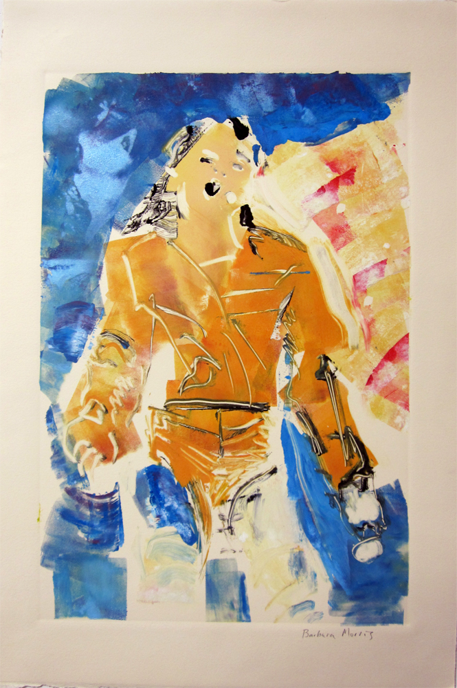 "Michael Jackson (Moonsuit blue background) 30"" x 22"" monotype 2010"