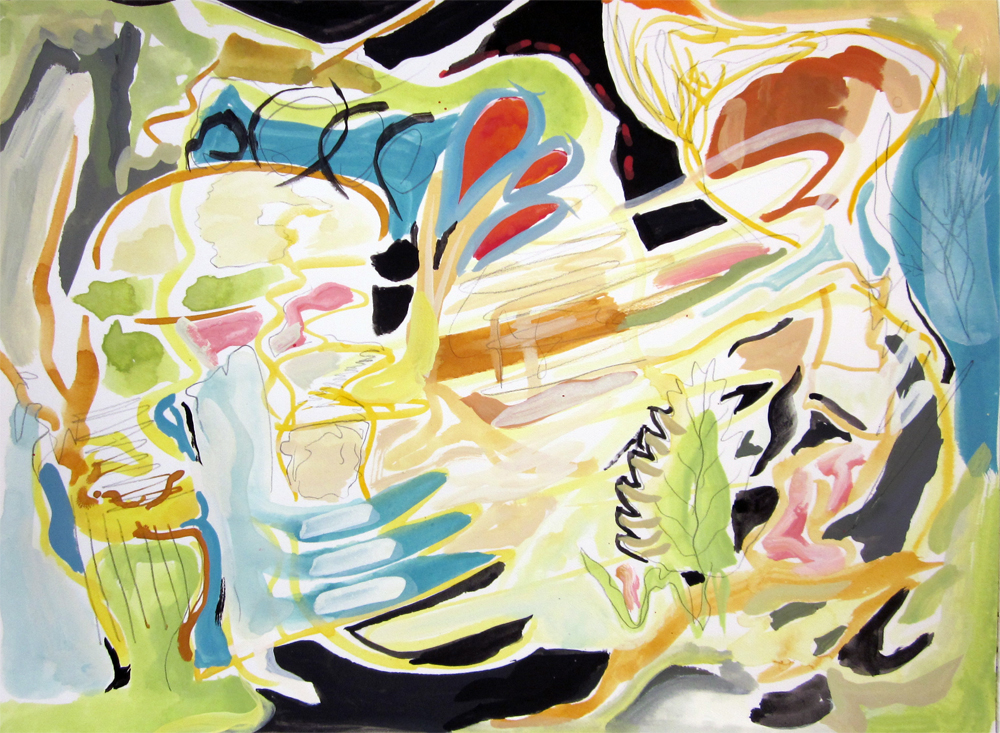 "Mental Landscape		9"" x 12"" 	gouache on paper		2011"