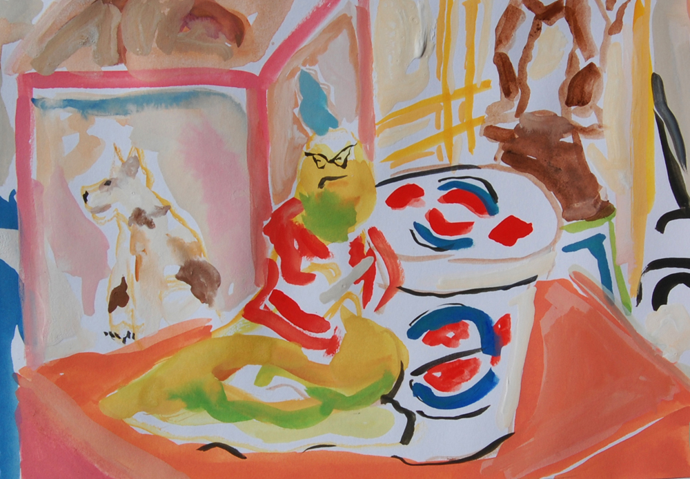 "Still Life with Roz 3	6"" x 9""		 gouache on paper		2009"