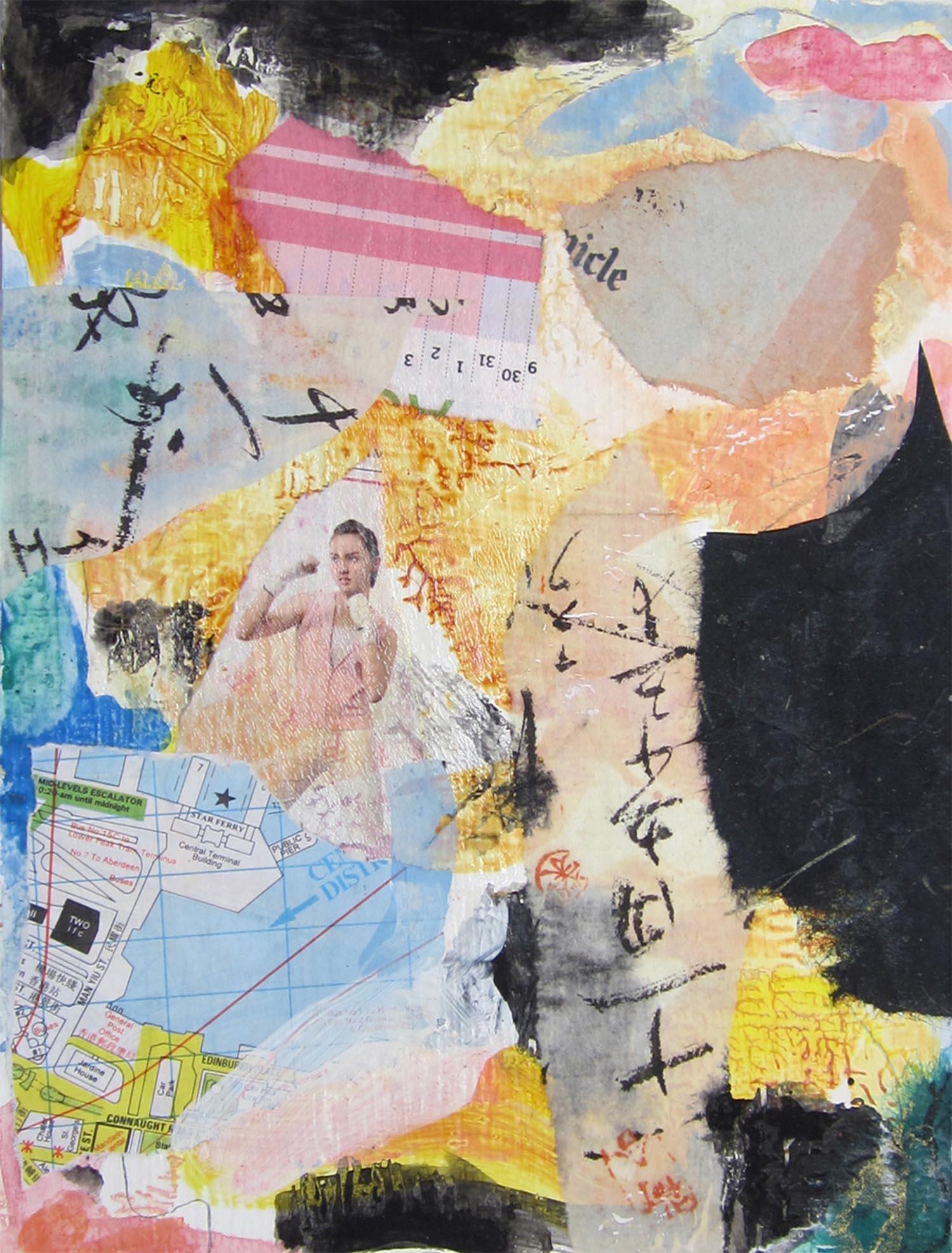"""Hong Kong Series II, mixed-media, 6"""" x 4"""" 2014"""