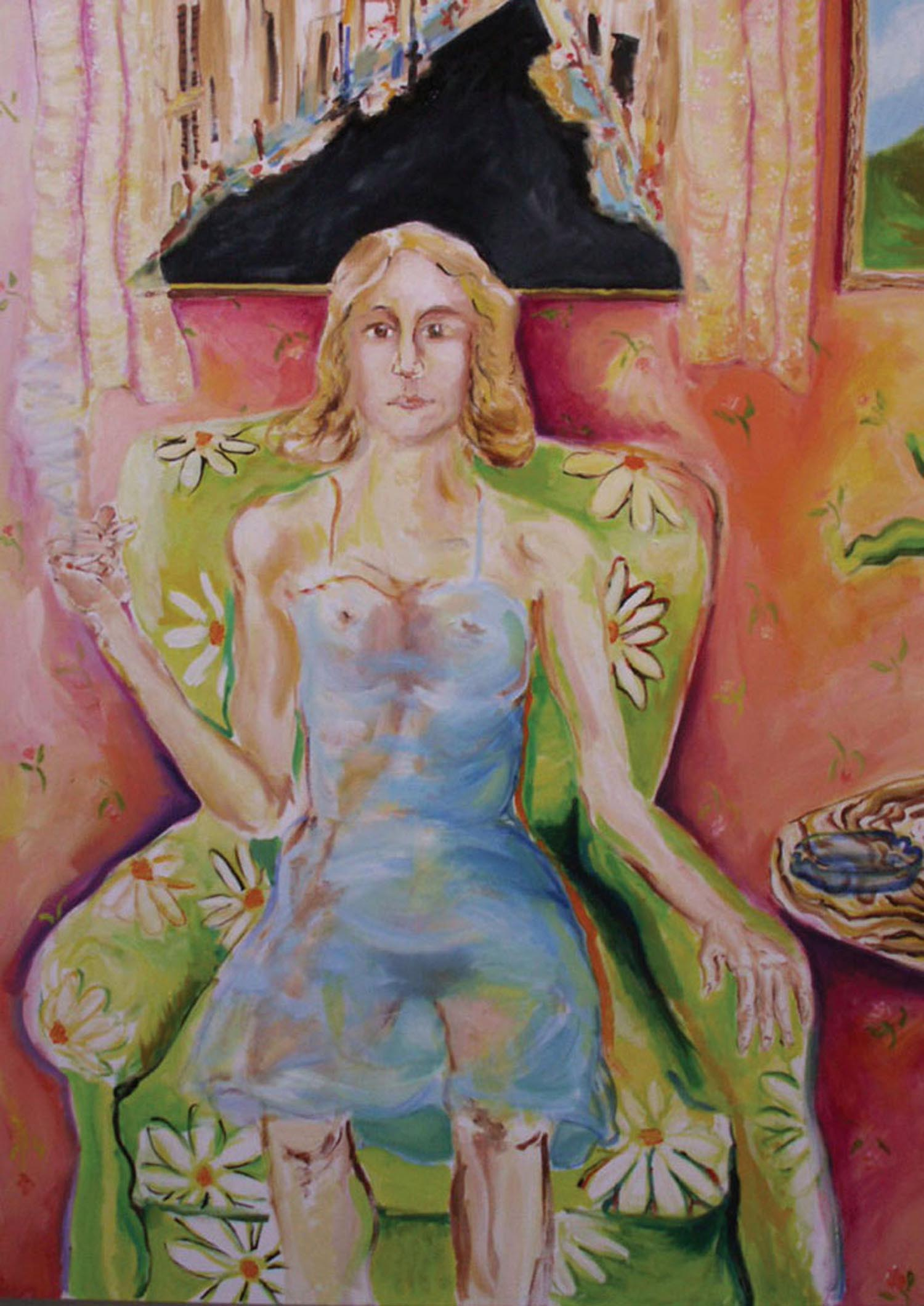 "Woman in Green Chair	60"" x 48""	oil on canvas	2009"