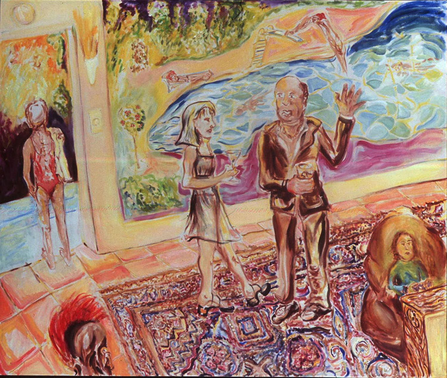 "Pool Party  60"" x 72"" acrylic on canvas, 2008"