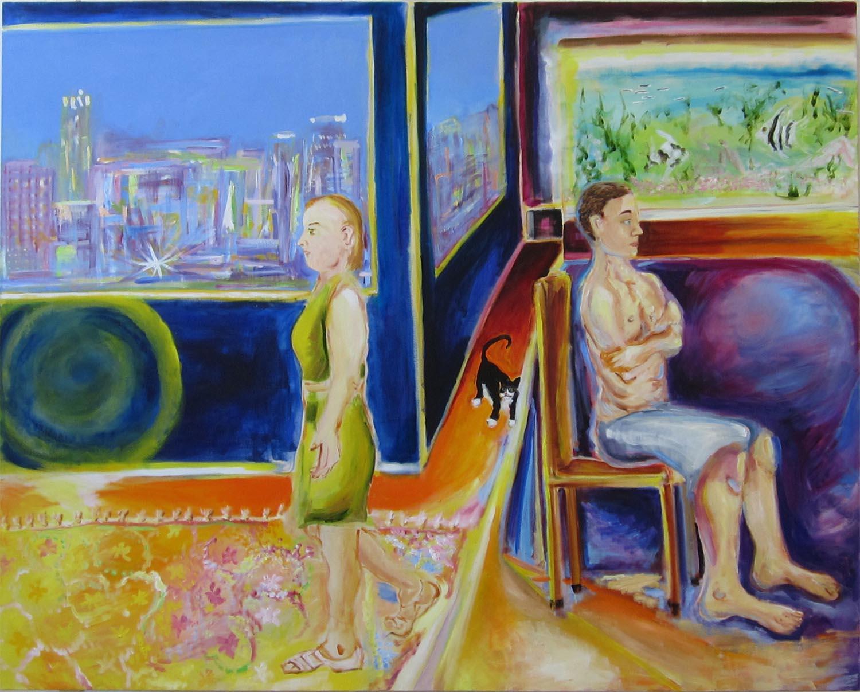 """Tuxedo, oil and acrylic on canvas, 48"""" x 60"""" 2013"""