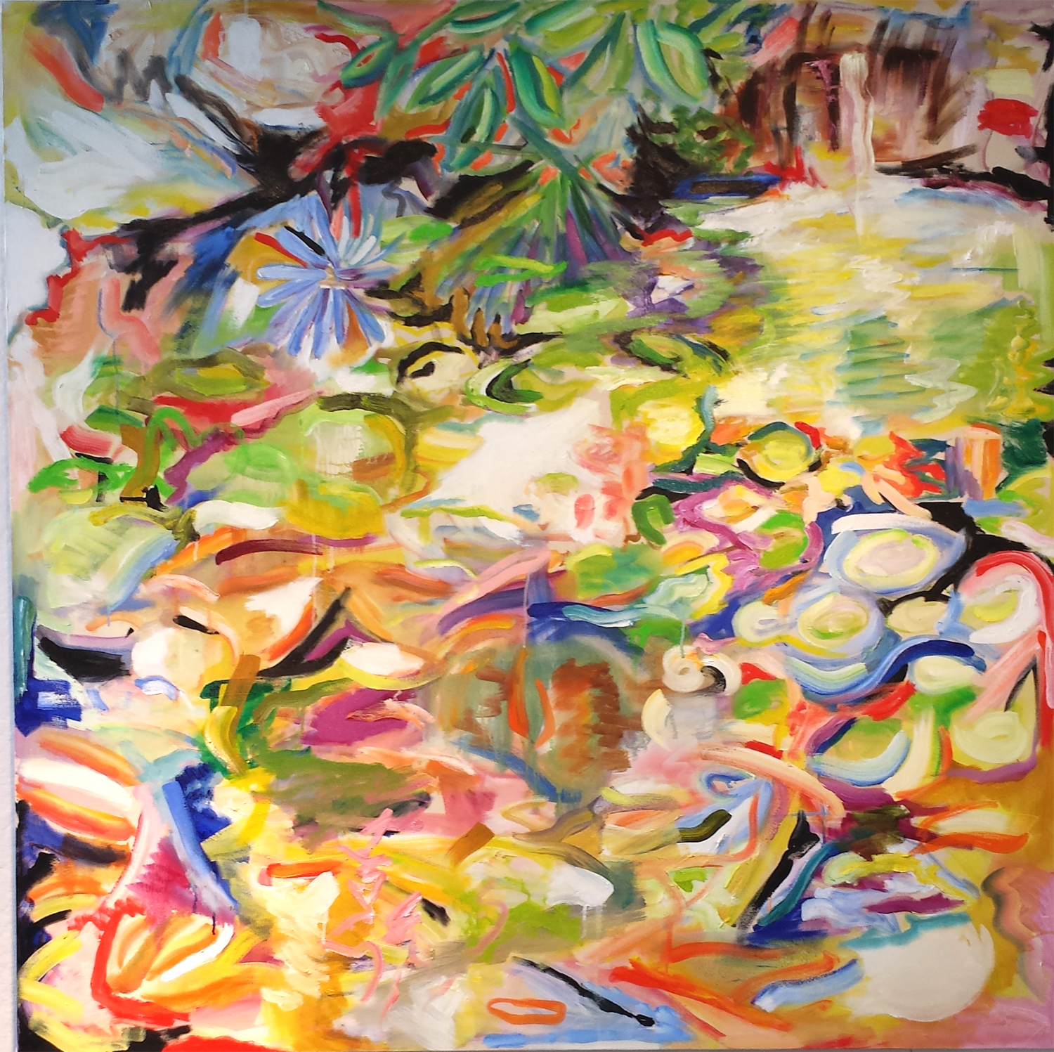"Koi Pond III, oil on canvas, 60"" x 60"" 2014"
