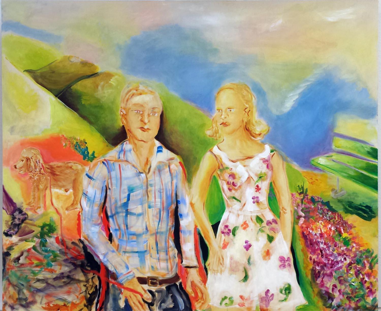 "Loose Leash Walking, acrylic on canvas, 60"" x 72"" 2014"