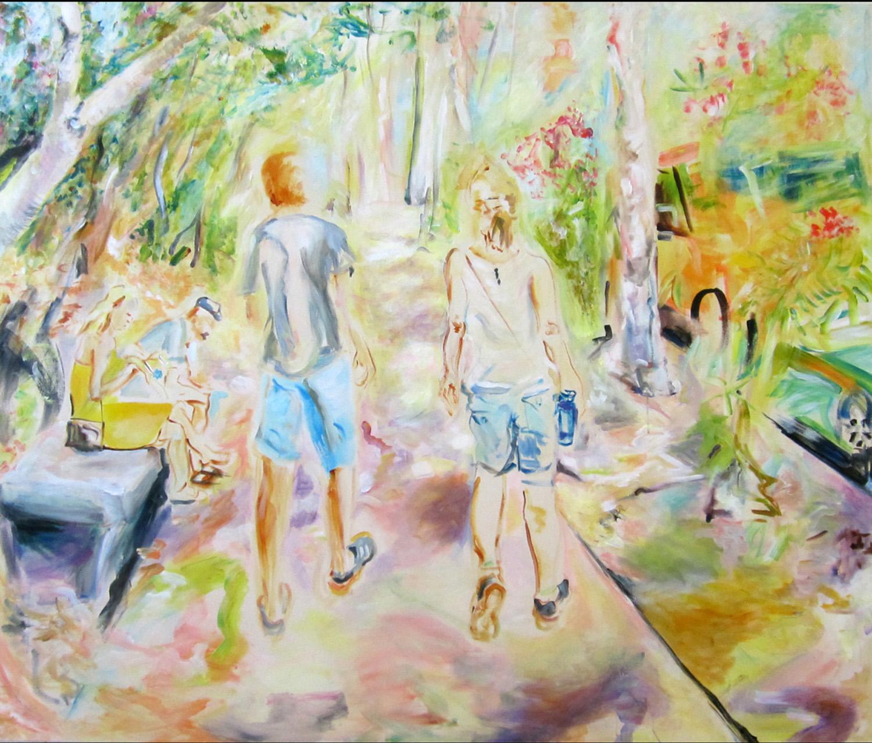 """Parc de Montjuic, acrylic on canvas, 60"""" x 72"""" 2013"""