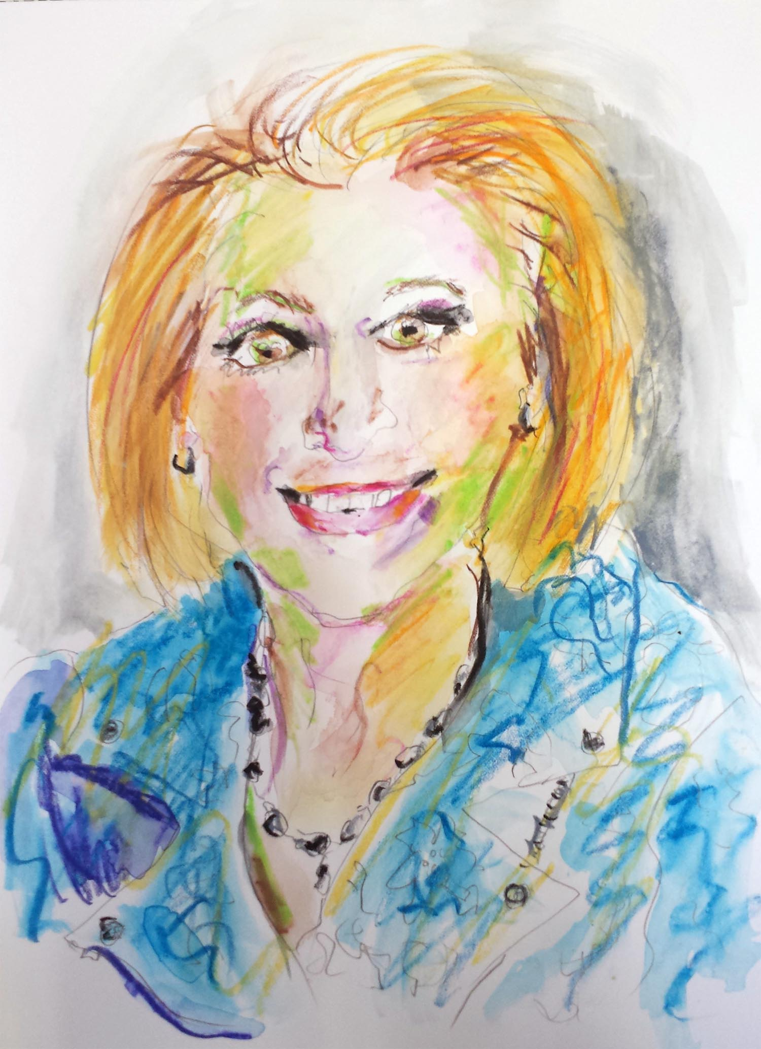 "Carly Fiorina, mixed-media on paper, 12"" x 9"" 2015"