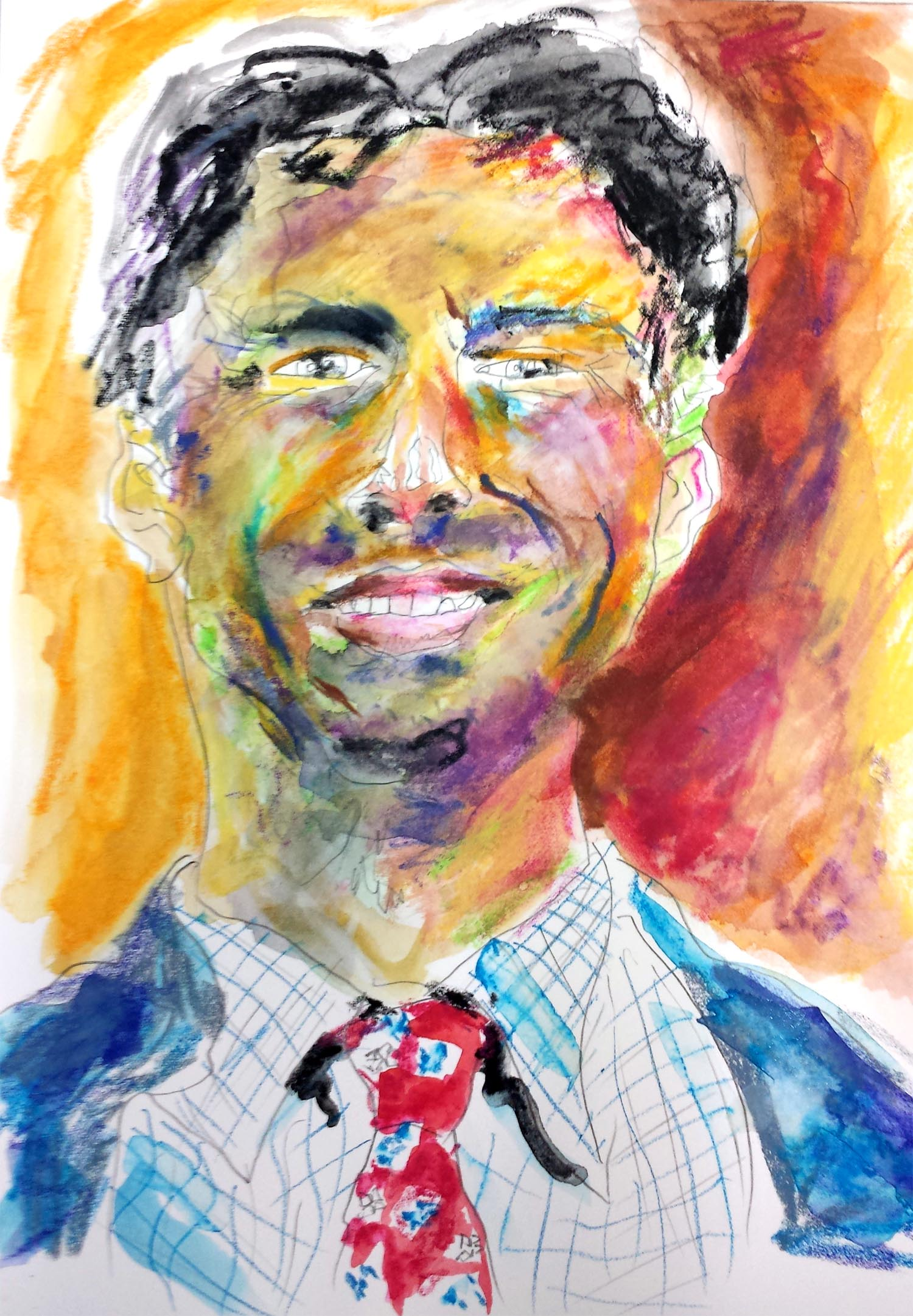 "Bobby Jindal, mixed-media on Arches paper, 12"" x 9"" 2015"