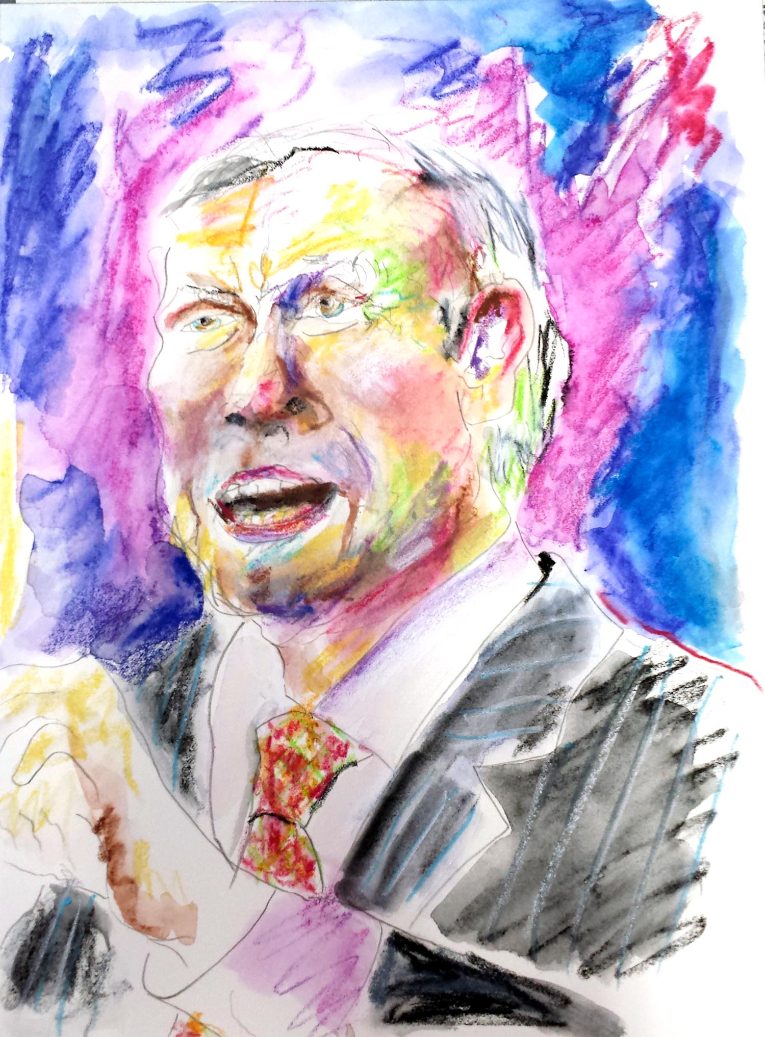 "George Pataki, mixed-media on Arches paper, 12"" x 9"" 2015"