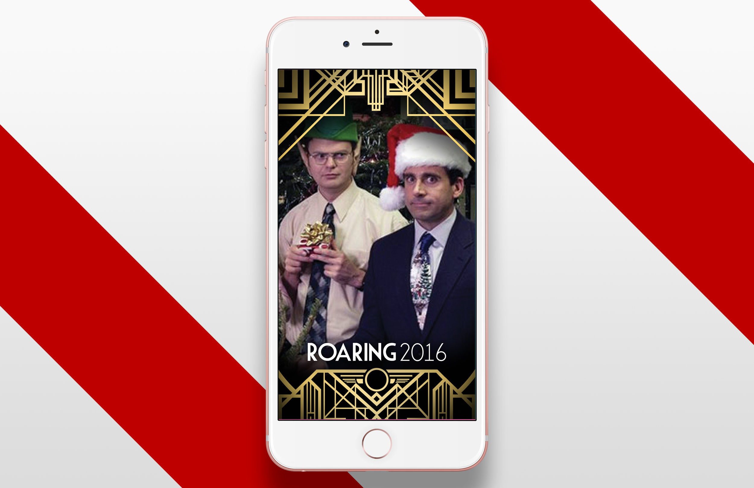 I repurposed the Gatsby style to create a Snapchat filter for Verizon Digital Media Services' company holiday party (The Office actors were for placement only).