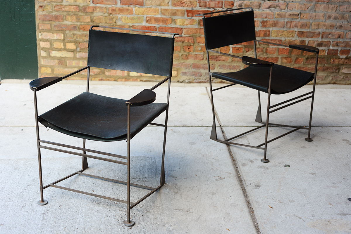 Kevin Walz, Iron and Leather chairs.