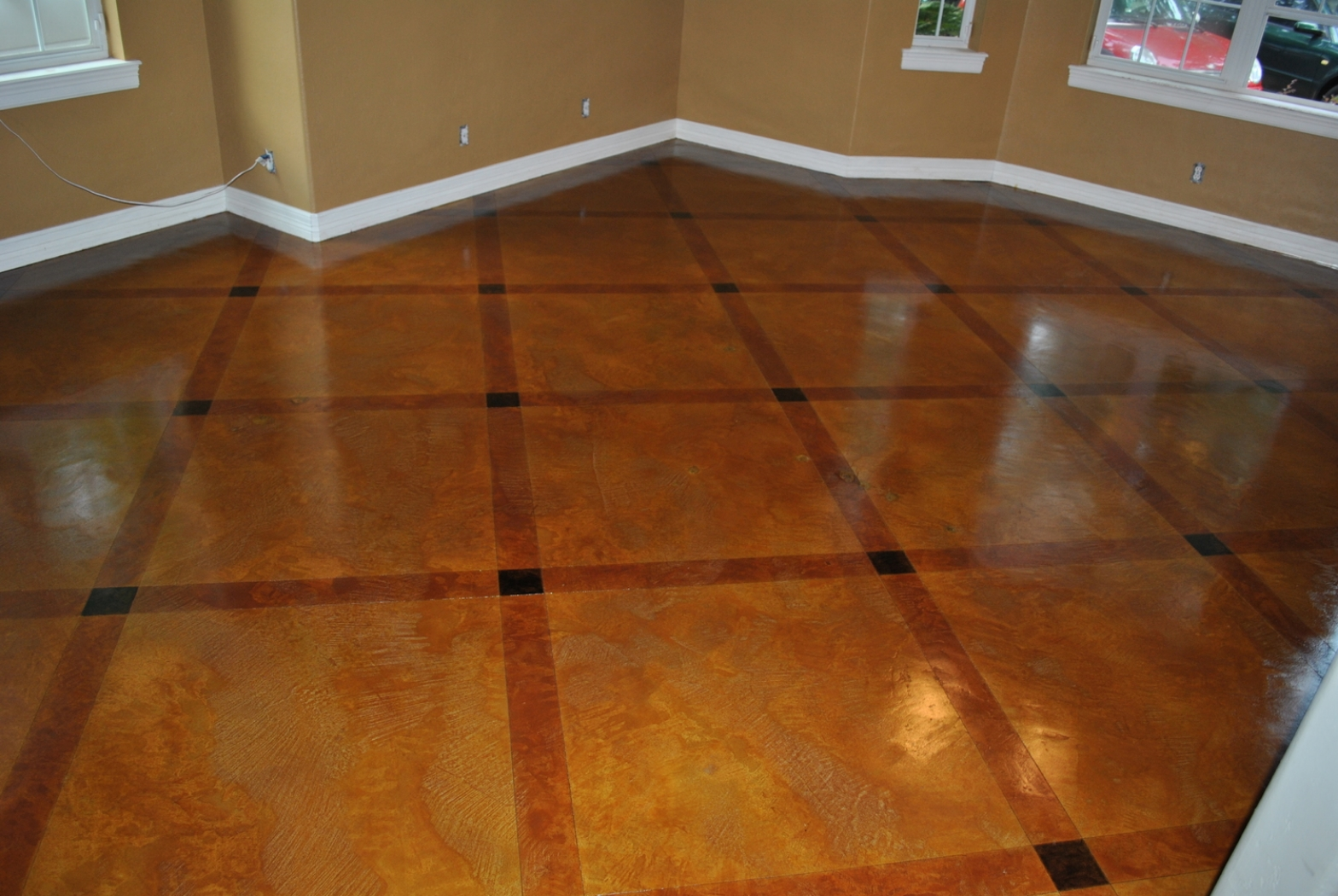 Stained Concrete with Double Diamond Pattern