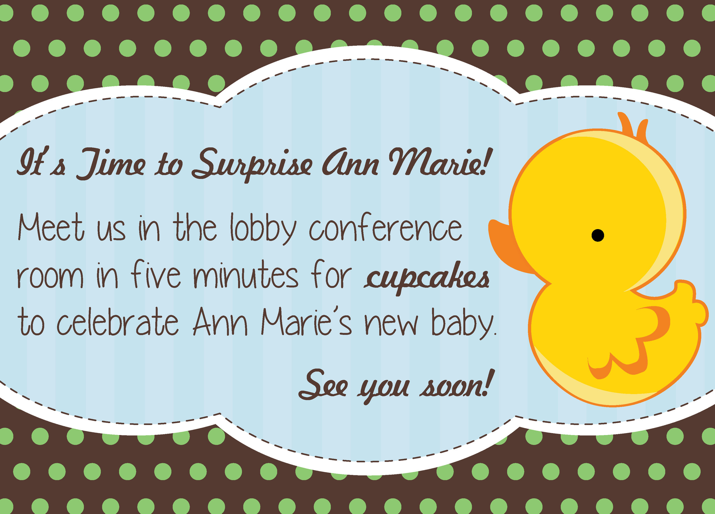 Email for Surprise Party