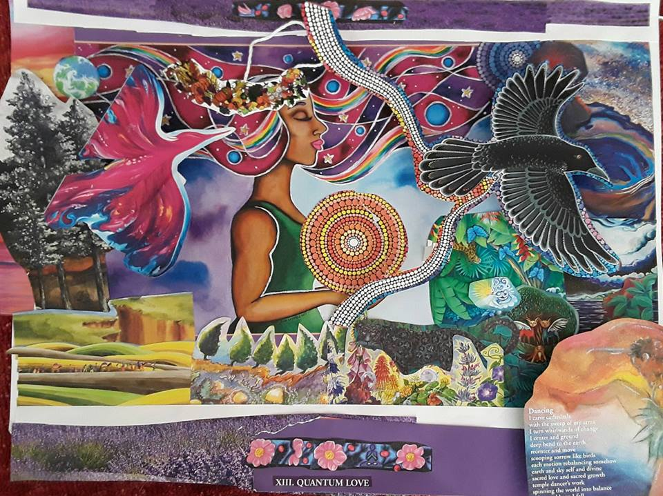 """Collage Artist and Photo Credit: Princess Jenkins. This collage was created in June 2018 at a collage-facilitated workshop by Tina Karagulian. The rainbow-haired woman in this collage comes from the painting, titled """"Empowered,"""" created in 2007 by watercolor artist Rita Loyd, featured in the 2017 We'Moon Stardust calendar. Reprinted here with permission from the artist. Visit  https://NurturingArt.com/  and check out some of her other images on Zazzle!  https://www.zazzle.com/s/rita+loyd    https://www.zazzle.com/empowered_by_rita_loyd-137925372594233772    https://wemoon.ws/"""