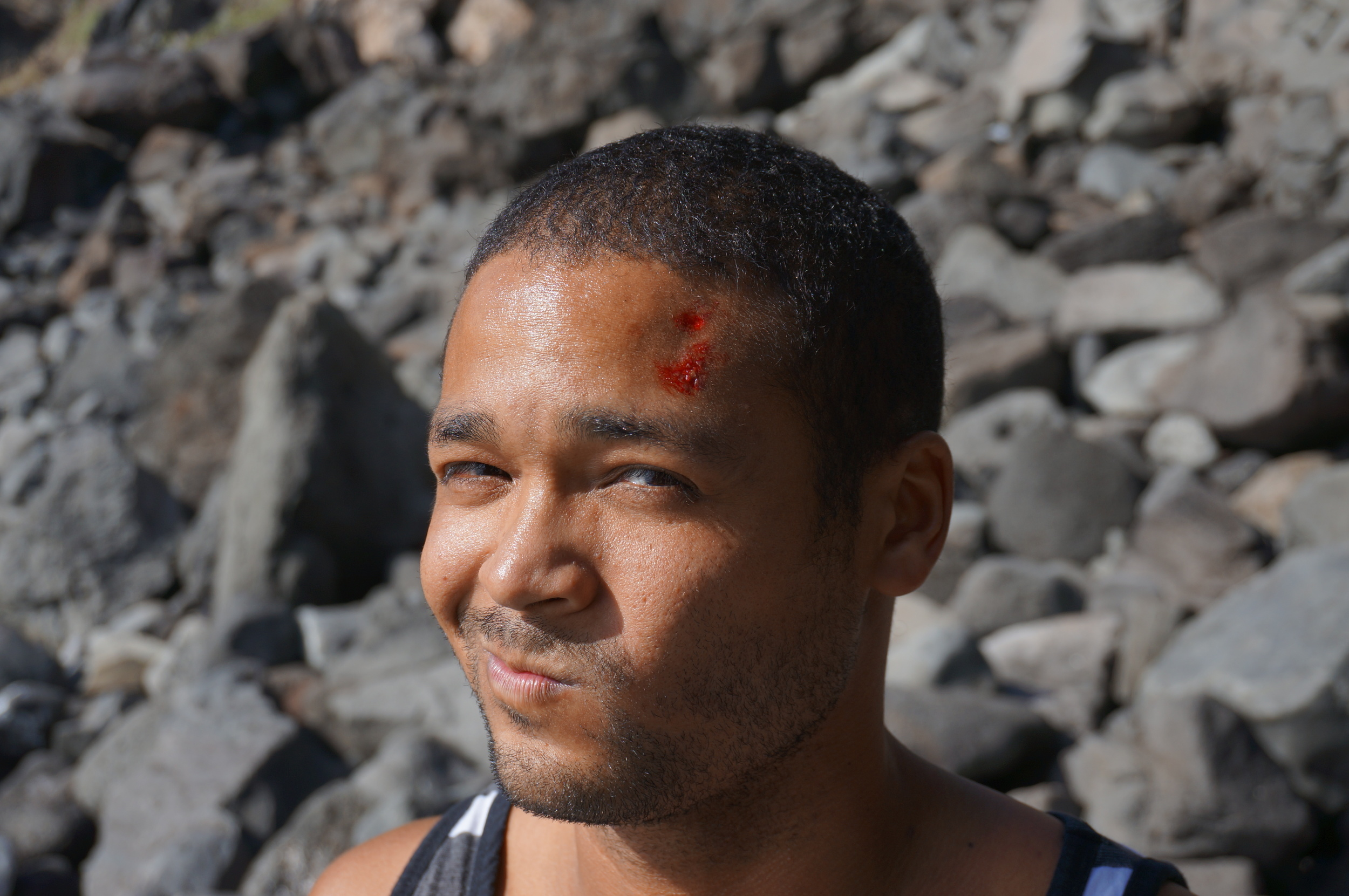 He gave it hell, headbutting the rock during one of his attempts. Hell yeah, brother.