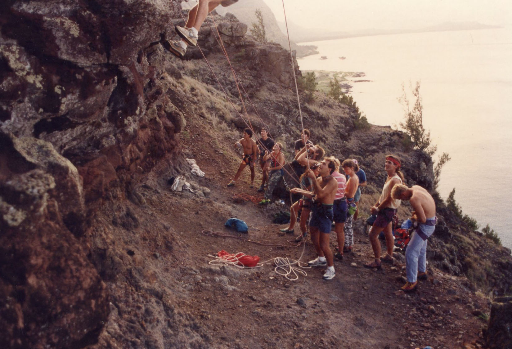 """Busy day at Makapu'u, 1991. """"Makapu'u was a favorite"""" back then and is still one of Hawaii's most popular crags."""