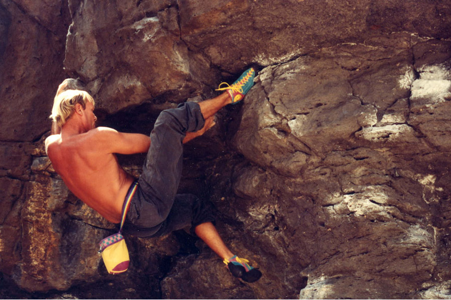 """""""In the shot of me on T-Rex I was going up the face doing a dyno to the finger slot. What fun it was working out that problem."""""""