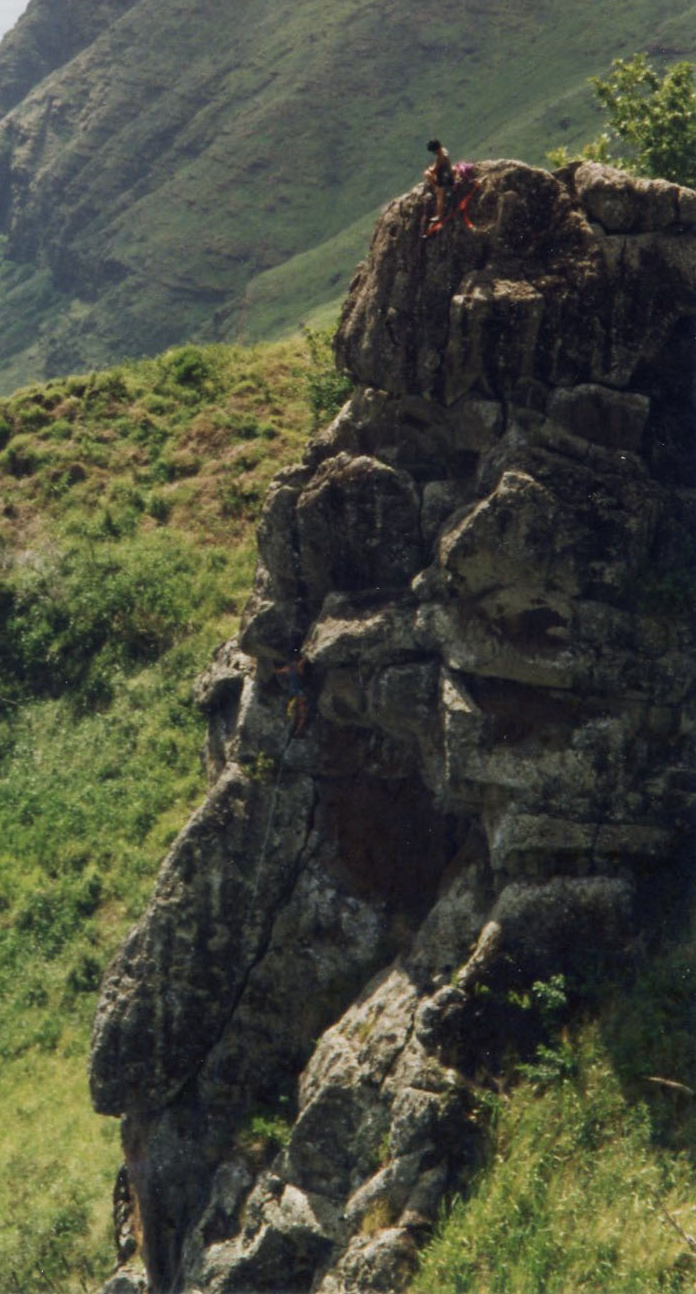 """Waianae Range,1993. On the weekends, """"we used to hike out to the hill above the climbs on a Friday afternoon and camp out there for the weekend and climb."""" The rock here is questionable and any bolts were removed a long time ago."""