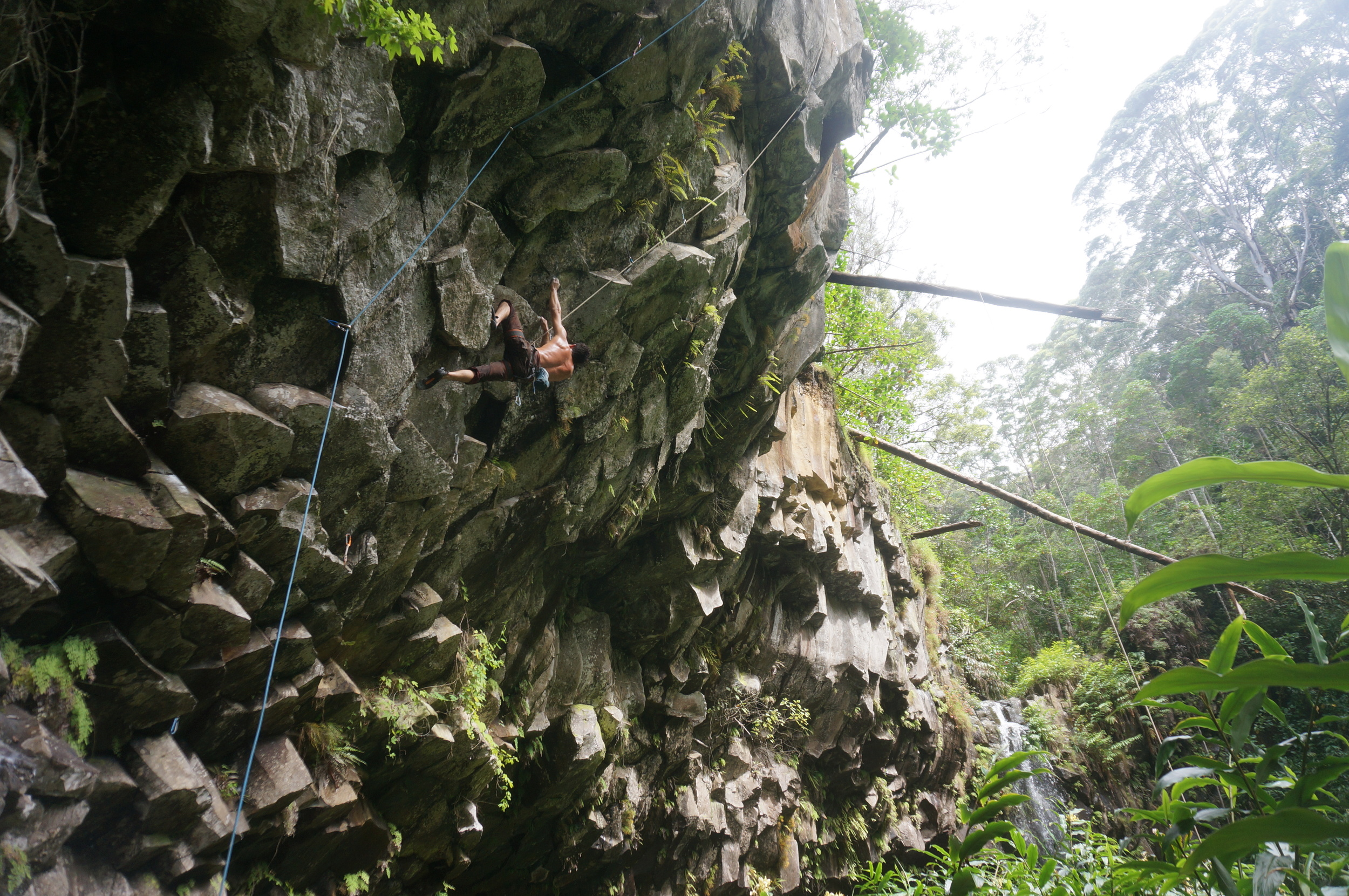 Oct 2015: Feeling out Jeff Jackson's 'Makawao Pig Hunt' (5.13d) on TR, cause it was wet (it's always wet!). PC: Kurtis Loo