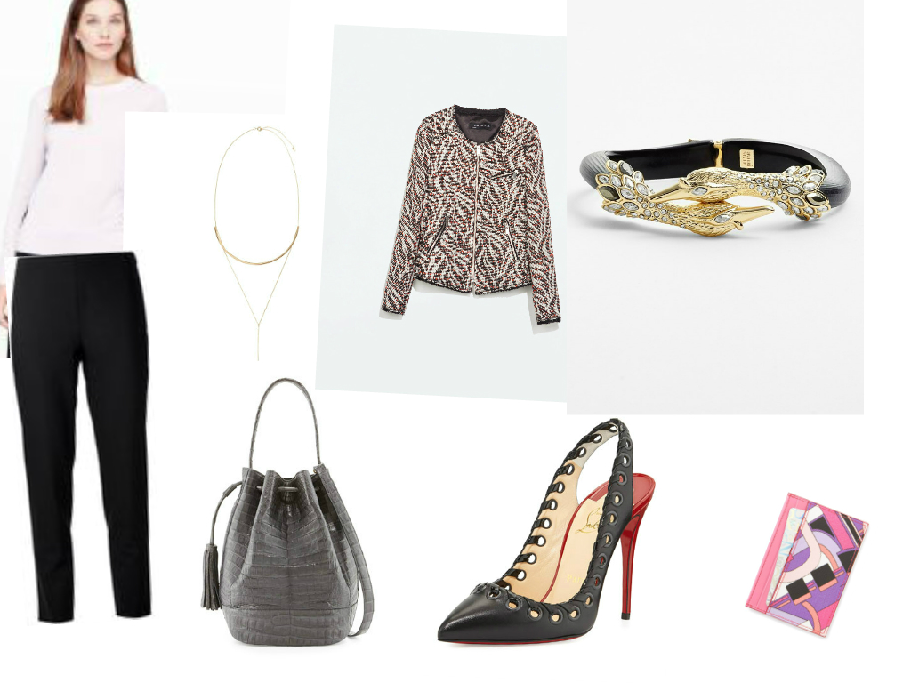 TOP:  Club Monaco MacKanzie Back Block Sweater , NECKLACE: H&M, JACKET: Zara, BRACELET:  Alexis Bittar , BAG: Nancy Gonzales, SHOES:Christian Louboutin, CREDIT CARD HOLDER: Emilio Pucci.