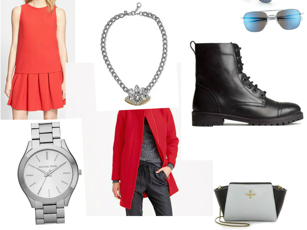 DRESS:  DVF , NECKLACE: Banana Republic, BOOTS:  H&M , WATCH: MICHAEL Michael Kors, ( similar here ) COAT: J.CREW, BAG:  Pour La Victorie , EYEWEAR: Randolph Engineering.