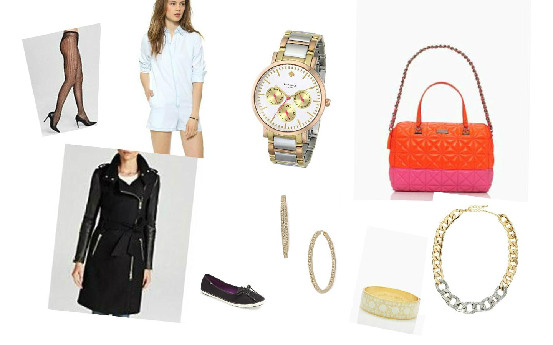 Tights:  Hue , Romper:  L'America,  Watch:  Kate Spade , Bag: Kate Spade, Coat:  Mackage Dale , Shoes: Keds, Earrings: Nadri, Bracelet: Kate Spade, Necklace:  Panacea