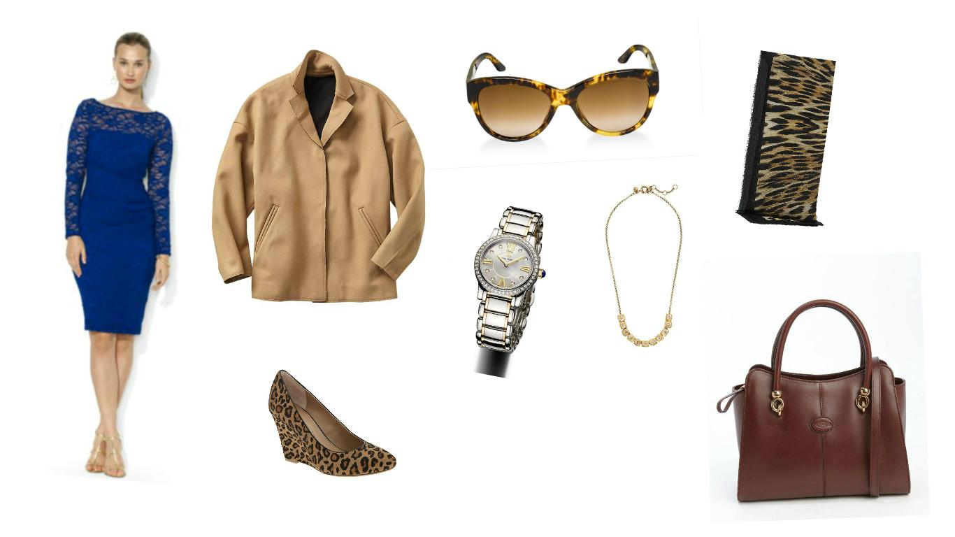 Dress: Ralph Lauren, Coat: Gap, Watch: David Yurman, Necklace: J.Crew, Sunglasses: Ralph Lauren, Bag: Tod's, Shoes: Banana Republic, Scarf: Reiss