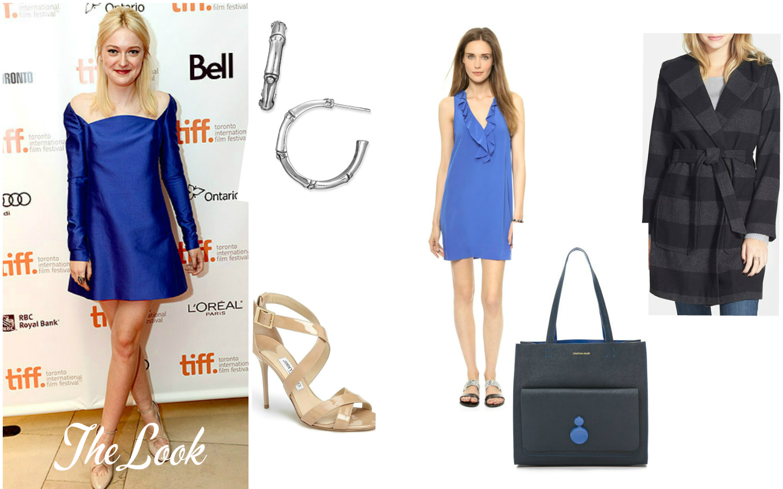 The Look: Dakota Fanning in Valentino. Earrings:  John Hardy , Dress:  Joie , Coat:  Jolt , Shoes:  Jimmy Choo , Bag:  Jonathan Adler .
